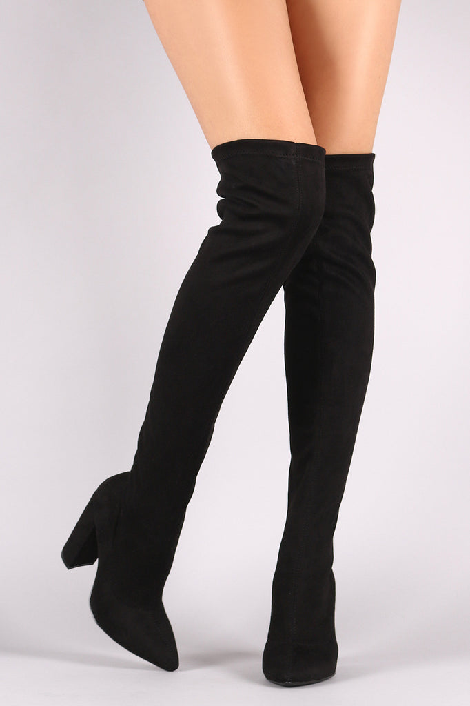 a728ba071db ... Qupid Fitted Suede Pointy Toe Chunky Heeled Over-The-Knee Boots ...