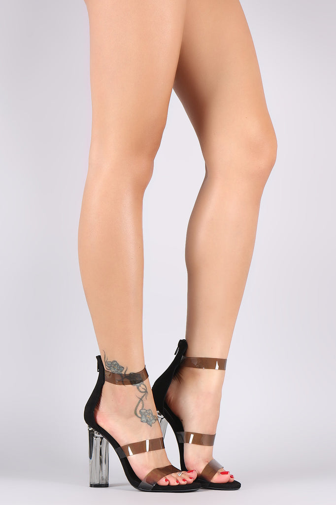 93c6d149ece Wild Diva Lounge Suede Triple Clear Straps Chunky Lucite Heel ...
