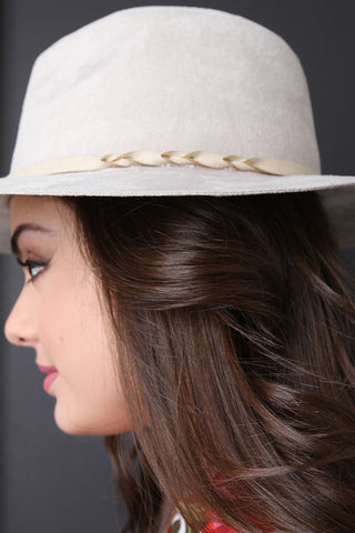 Suede Braid Trim Fedora Hat