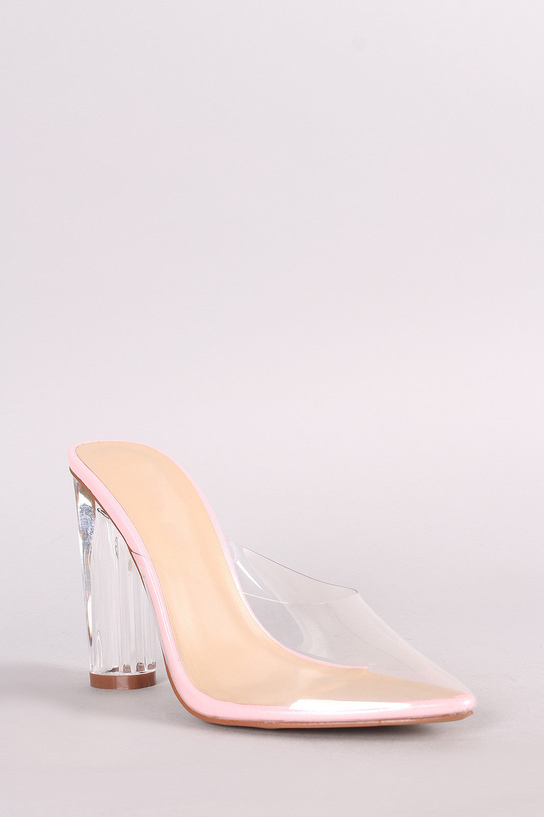 Transparent Pointy Toe Chunky Perspex Heel Mule Pump – Kurve Boutique