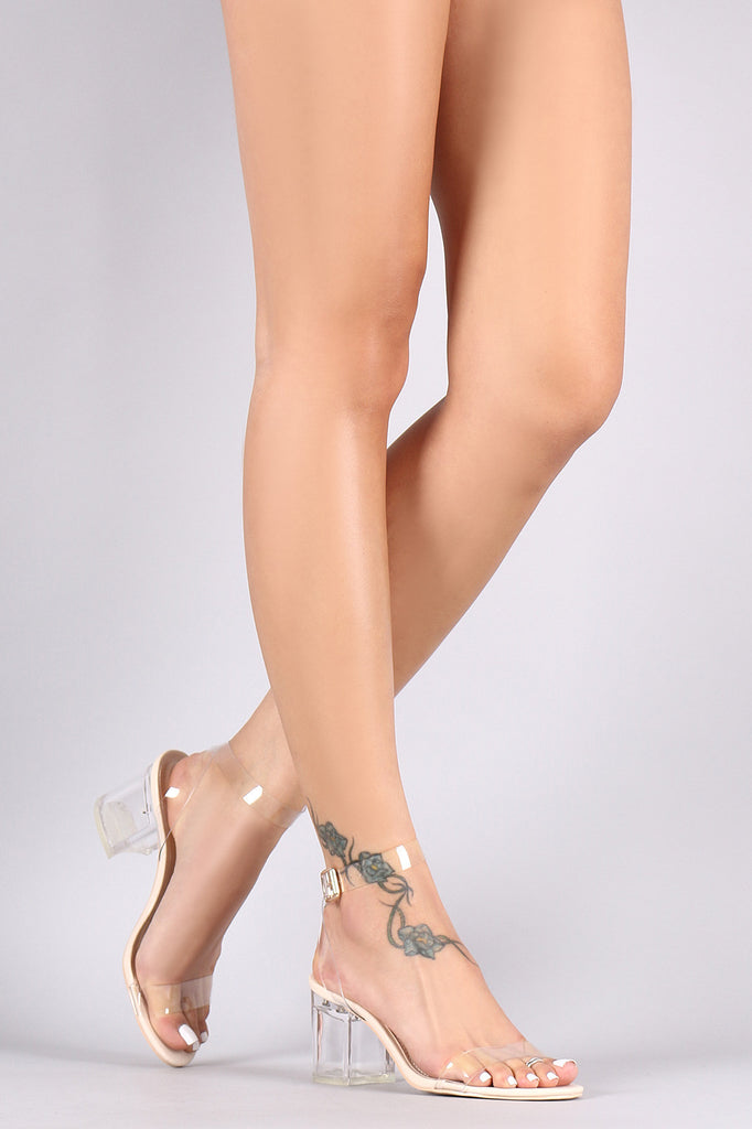 Transparent Ankle Strap Open Toe Lucite Block Heel – Kurve Boutique