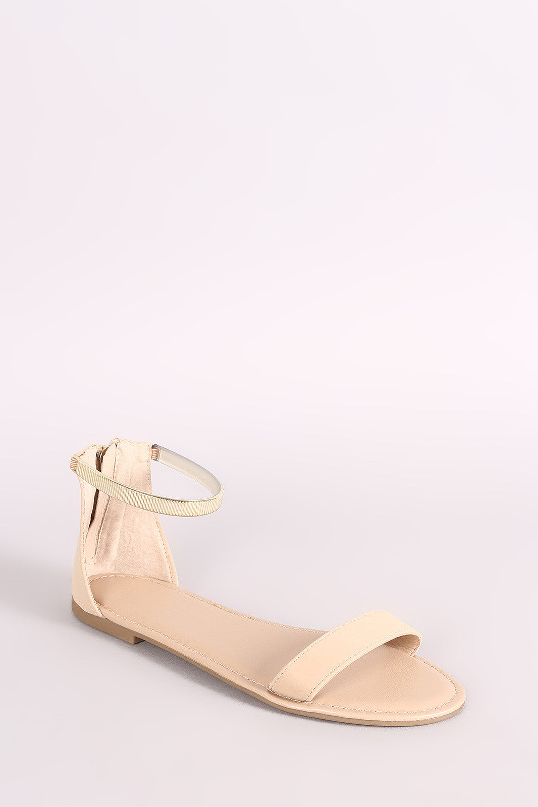 5b7132103bd Bamboo Nubuck One Band Ankle Strap Flat Sandal