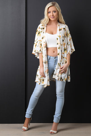 Textured Floral Print Open Front Cardigan