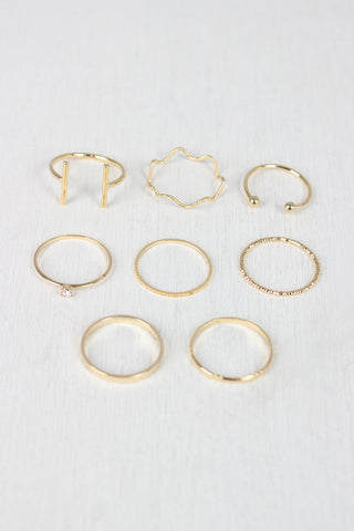 Etched Textured Bar Ring Set