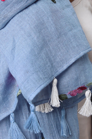 Embroider Flowers Tassel Scarf