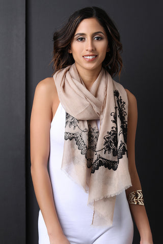 Floral Embroider Lightweight Scarf