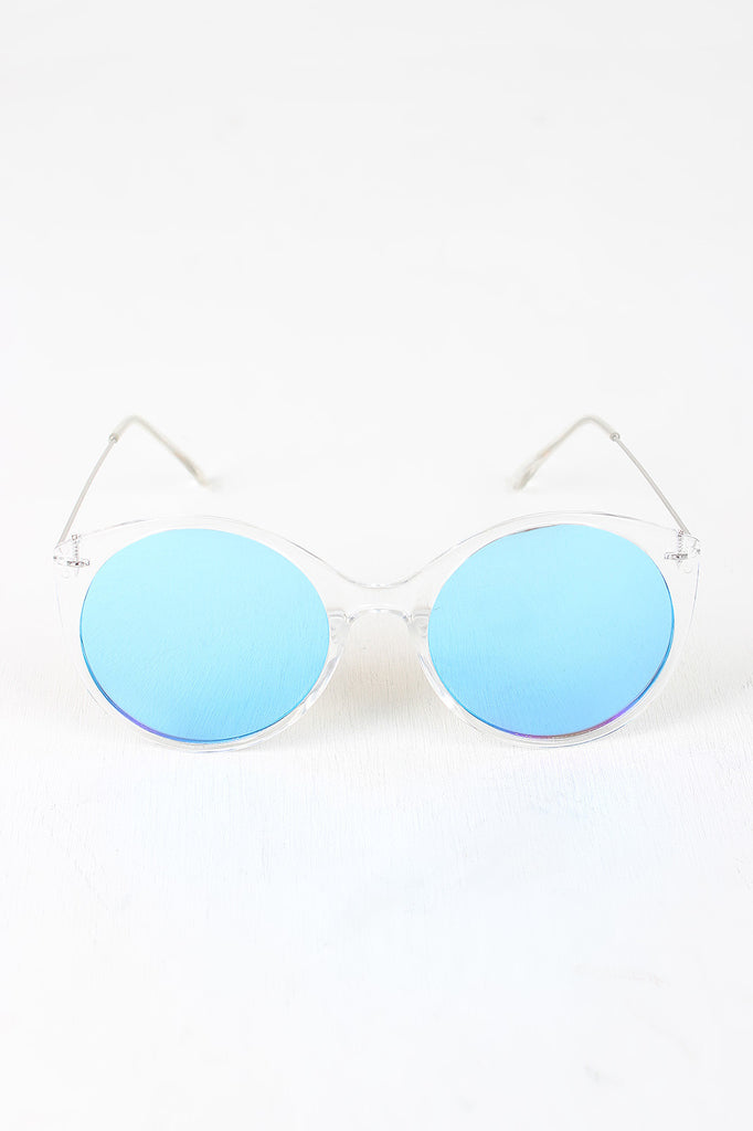 Clear Frame Round Mirrored Sunglasses – Kurve Boutique