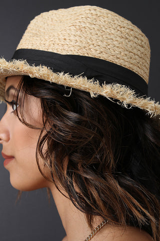 Raw Edge Ribbon Straw Panama Hat