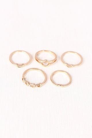 Crescent Arrow Multi Ring Set