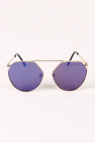 Geometric-Shape Mirrored Lens Sunglasses
