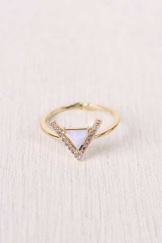 Rhinestone Accent Triangle Gemstone Ring