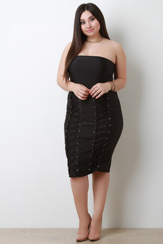 Stretchy High Waisted Corset Pencil Skirt