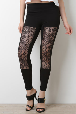 Floral Lace Panel Stretch Leggings