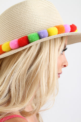 Multi Colored Pom Pom Panama Hat
