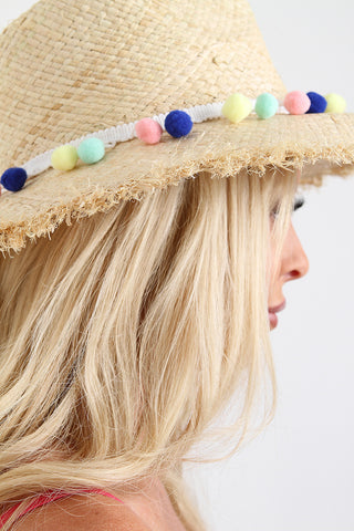 Dangly Pom Pom Frayed Straw Hat