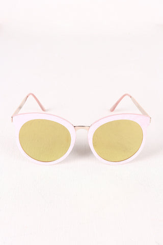 Oversized Metallic Accent Mirrored Sunglasses