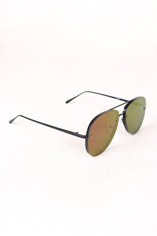 Double Bridge Mirrored Lens Aviator Sunglasses