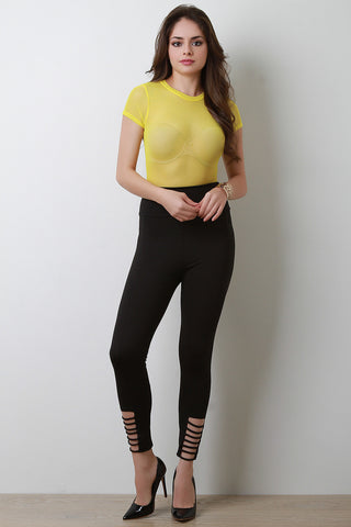High Waisted Strappy Ankle Leggings