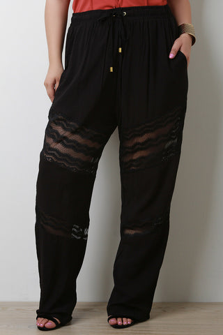 High Waist Lace Insert Wide Leg Pants