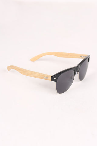 Wayfarer Faux Wooden Arms Sunglasses