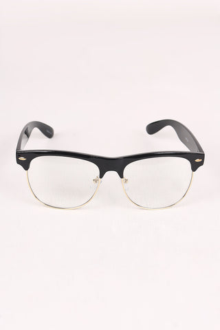 Clear Lens Semi-Rimless Wayfarer Glasses