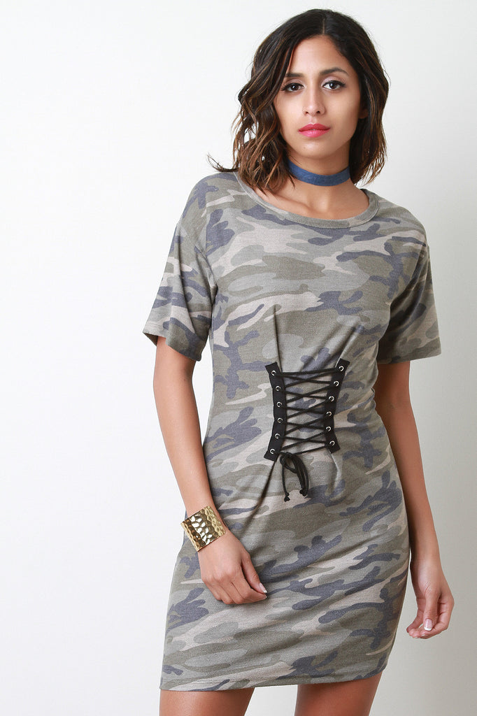 b1098927fb8f French Terry Camouflage Corset T-Shirt Dress – Kurve Boutique