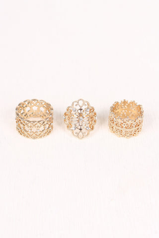 Filigree Rhinestone Ring Set