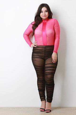 Mid Rise Ruched Mesh Leggings
