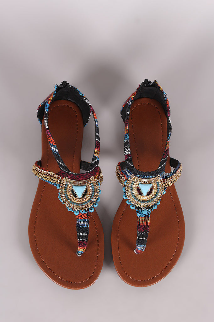 f15a4e96ed2 City Classified Tribal Beaded Hardware Accent Thong Flat Sandal ...