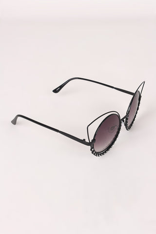 Open Wire Rhinestone Frame Round Cat Eyed Sunglasses