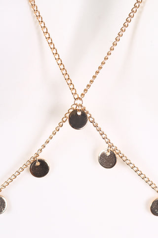 Coin Charm Layered Bra Body Chain Necklace Set