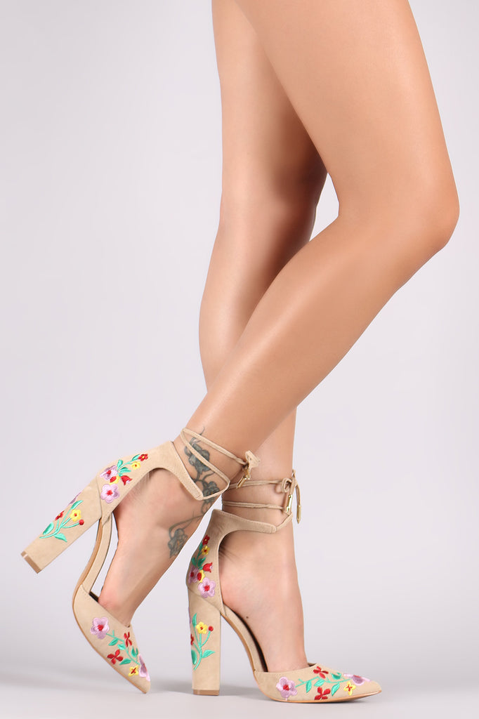 b80c3c20e589 Shoe Republic LA Pointy Toe Embroidered Floral Suede Chunky Heel ...