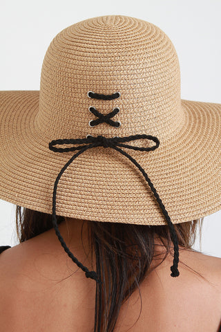 Lace-Up Back Straw Sun Hat