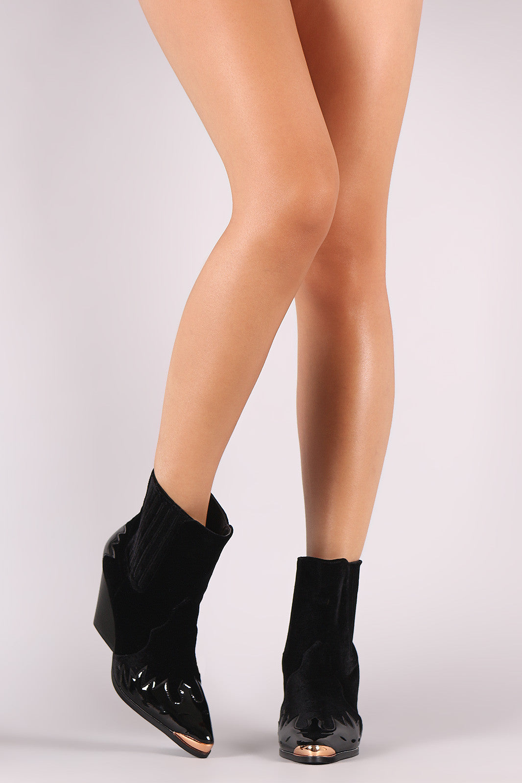 d94a29a53f5 Velvet Flame Accent Pointy Toe Chunky Heeled Cowboy Booties – Kurve ...