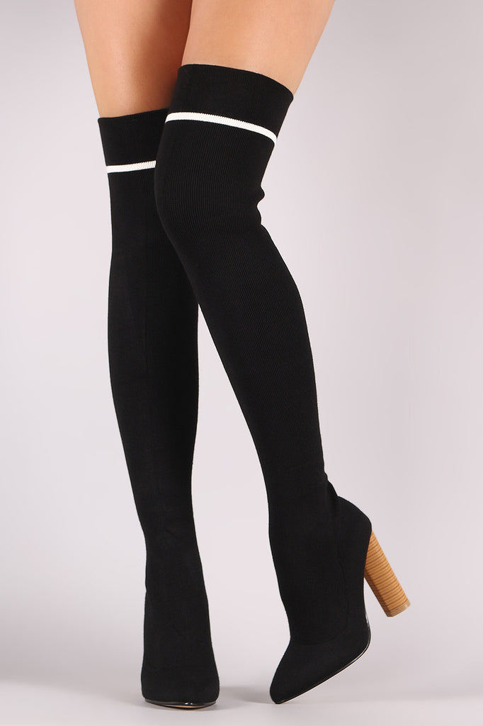 43d6ecc69400 Qupid Ribbed Sweater Knit Striped Over-The-Knee Boots – Kurve Boutique