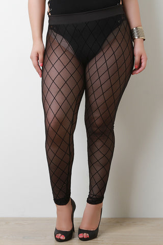Semi-Sheer Diamond Pattern High Rise Leggings