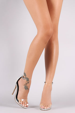Metallic Snake Embossed Open Toe Lucite Ankle Strap Stiletto Heel