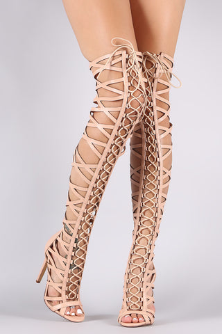 Strappy Open Toe Lace-Up Gladiator Heel