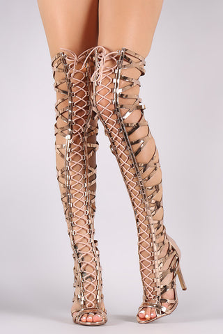 Metallic Patent Strappy Open Toe Lace-Up Gladiator Heel