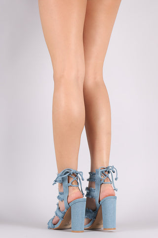 Strappy Open Toe Frayed Denim Lace-Up Chunky Heel