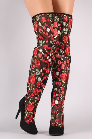 Suede Floral Embroidery Mesh Stiletto Over-The-Knee Boots