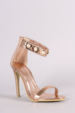 Metallic Patent Studs And Faux Pearl Ankle Strap Stiletto Heel