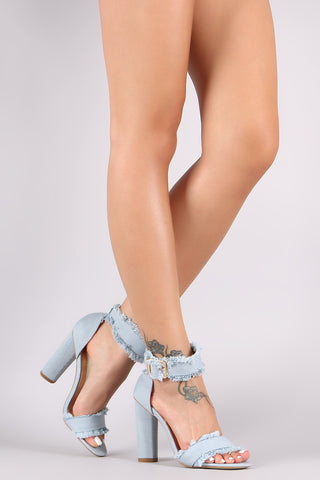 Frayed Denim Buckle Ankle Strap Open Toe Chunky Heel