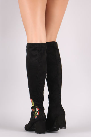 Suede Floral Patch Block Heeled Knee High Boots