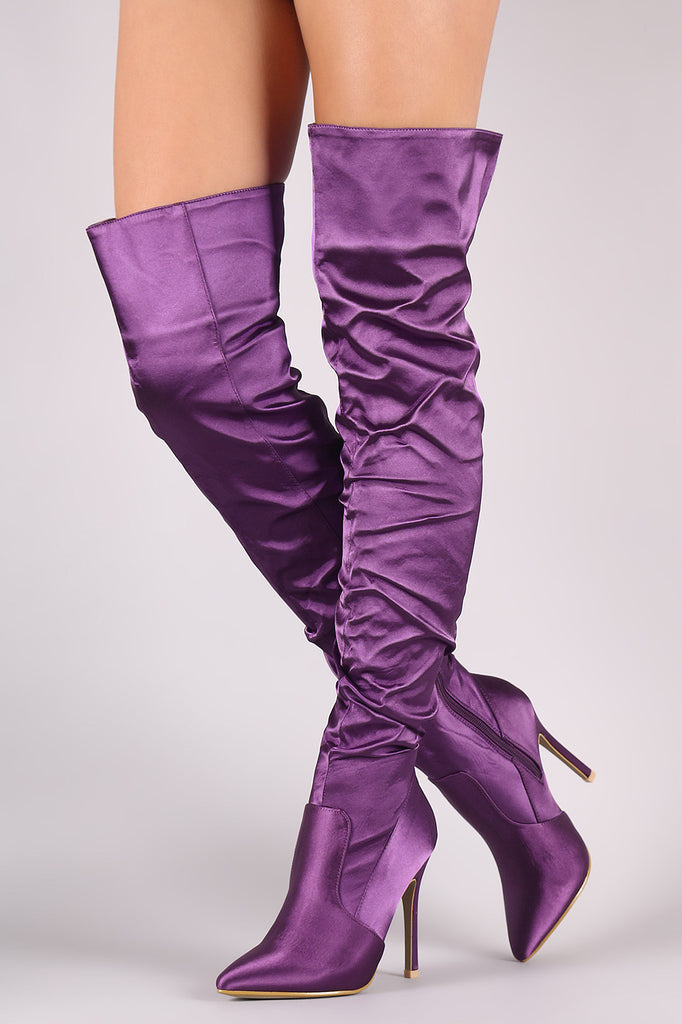 89d181f3e Slouchy Satin Pointy Toe Stiletto Over-The-Knee Boots – Kurve Boutique