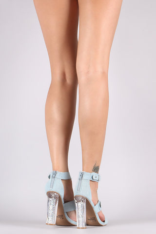 Qupid Denim Triple Strap Buckle Accent Lucite Glitter Heel