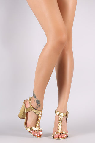 Faux Pearl Metallic Scalloped T-Strap Chunky Heel