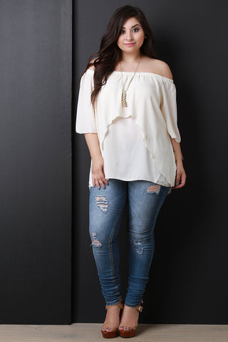 Off-The-Shoulder Tier Bell Sleeves Chiffon Flowy Top