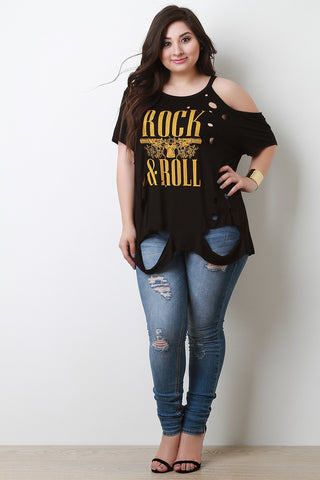 Graphic Print Disstressed One Side Cold Shoulder Tee