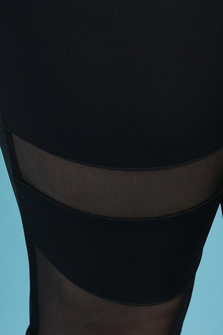 Stretchy Mid Rise Semi-Sheer Mesh Inset Pants